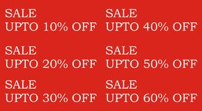 Sale and discount. Offer list for saving money with a red background Royalty Free Stock Photo