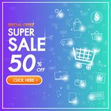 Sale Discount banner background up to 50% off technology concept for the online shopping store, shop, promotional leaflet, poster stock image