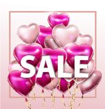 Sale discount banner for Valentines Day. Vector template. Special offer poster with heart balloons, festive background. Love, poster, banner, coupon, voucher Royalty Free Stock Images