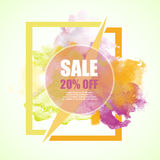 Sale -20% discount  banner with watercolor colorful splash. Es. Spring sale banner for online shopping, advertising actions, magazines and websites Royalty Free Stock Image