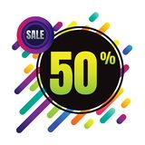 Sale discount 50% banner on white background. vector illustratio Royalty Free Stock Photo