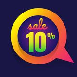 Sale discount 10% banner on white background. vector illustratio. N. colorful royalty free illustration