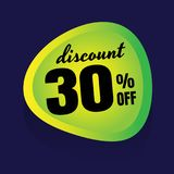 Sale discount 30% banner on white background. vector illustratio. N. colorful Royalty Free Stock Photo