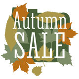Sale and discount card, banner, flier. Autumn sale title. Maple leaves of different colors: green, orange, yellow Stock Photography