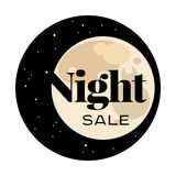 Sale and discount card, banner, flier. Black friday offer. Night sale title. Moon, planet with stars shining in space sky Stock Photos