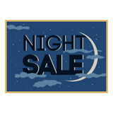 Sale and discount card, banner, flier. Black friday offer. Night sale title. New moon, planet with stars shining in cloudy sky Royalty Free Stock Photography
