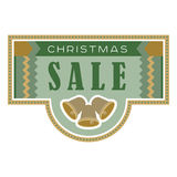 Sale and discount card, banner, flier. Christmas sale title. Bells, hand drawn letters composition isolated on background. Vector Royalty Free Stock Images
