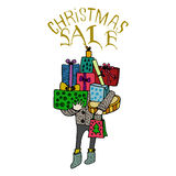 Sale and discount card, banner, flier. Christmas sale title. Royalty Free Stock Photos