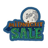Sale and discount card, banner, flier. Midnight sale title. Stock Image