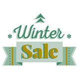 Sale and discount card, banner, flier. Winter sale title. Green pine tree icon, snowflakes, ribbon. Vector illustration template Royalty Free Stock Images