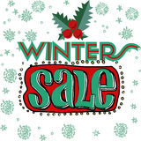 Sale and discount card, banner, flier. Winter sale title vector illustration