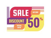 Sale - discount 50% concept banner vector illustration. Special offer creative geometric promotion layout. Buy now. Abstract composition. Graphic design vector illustration