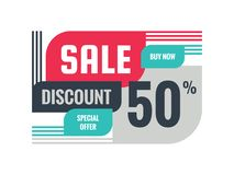 Sale - discount 50% concept banner vector illustration. Special offer creative geometric promotion layout. Buy now. Abstract composition. Graphic design royalty free illustration