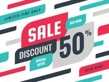 Sale - discount 50% concept banner vector illustration. Special offer creative geometric promotion layout. Buy now. Abstract vector illustration