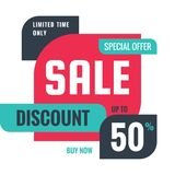 Sale - discount 50% concept banner vector illustration. Special offer creative geometric promotion layout. Buy now. Abstract. Composition. Graphic design stock illustration
