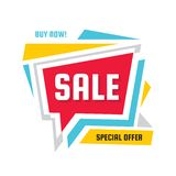 Sale - discount concept banner vector illustration. Special offer creative geometric promotion layout. Buy now speech bubble. Abstract composition. Graphic stock illustration