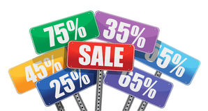 Sale and discount concept. color signs Stock Images
