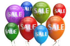 Sale and discount concept with colored balloons. 3D rendering. Sale and discount concept with  colored balloons. 3D rendering on white background Stock Photo