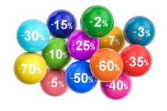 Sale and discount concept with colored balls. 3D rendering. Isolated on white background Stock Image