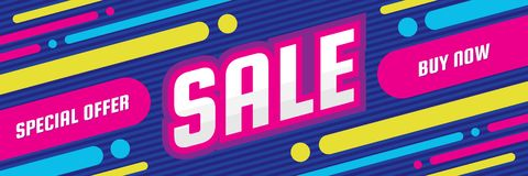 Sale discount - concept horizontal banner vector illustration. Special offer abstract layout. Buy now. Graphic design poster. Royalty Free Illustration