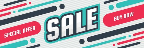 Sale discount - concept horizontal banner vector illustration. Special offer abstract layout. Buy now. Graphic design poster. Vector Illustration