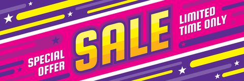 Sale discount - concept horizontal banner vector illustration. Special offer abstract layout. Limited time only. Graphic design. Poster Royalty Free Illustration