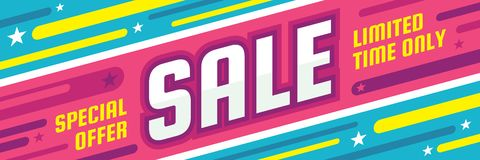 Sale discount - concept horizontal banner vector illustration. Special offer abstract layout. Limited time only. Graphic design. Sale discount - concept Vector Illustration