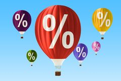 Sale and discount concept with hot air balloons. 3D rendering. Sale and discount concept with hot air balloons. 3D Royalty Free Illustration