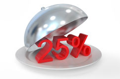25 %,  sale and discount concept. Isolated on white background Stock Photos