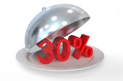 30 %,  sale and discount concept. Isolated on white background Royalty Free Stock Photography