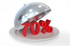 70 %,  sale and discount concept. Isolated on white background Royalty Free Stock Images
