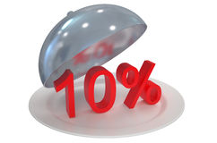 10 %, sale and discount concept. Isolated on white background stock illustration