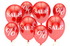 Sale and discount concept with red balloons. 3D rendering. On white background Royalty Free Stock Images