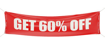60 %, sale and discount concept on the red banner. 60 %, sale and discount concept on white background Stock Photography