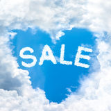Sale discount concept tell by shy cloud nature. Sky cloud sale discount concept word inside heart shape Stock Images