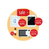 Sale and Discount Concept Vector Illustration. Sale and discount concept vector. Flat design. Household appliances and devices with percent discount stickers Stock Photography