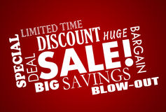 Sale Discount Deal Event Word Collage Stock Photos