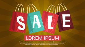 Sale Discount Different Shooping Bags Collection Presents Promotion Holiday Concept. Flat Vector Illustration Royalty Free Stock Photo