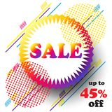 Sale logo festival travel abstract sign. Sale discount sticker flyer, modern banner graphic design concept button, logo, frame, symbol, coupon, gift card, gift Royalty Free Stock Photos