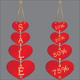 Sale discount in hearts Royalty Free Stock Photography