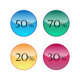 Sale discount icons. 20% 30% 50% 70 Stock Illustration