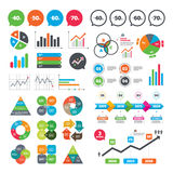 Sale discount icons. Special offer price signs. Business charts. Growth graph. Sale discount icons. Special offer price signs. 40, 50, 60 and 70 percent off Vector Illustration