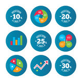 Sale discount icons. Special offer price signs. Business pie chart. Growth curve. Presentation buttons. Sale discount icons. Special offer stamp price signs. 10 royalty free illustration