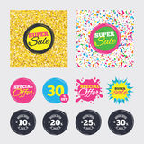Sale discount icons. Special offer price signs. Gold glitter and confetti backgrounds. Covers, posters and flyers design. Sale discount icons. Special offer Royalty Free Stock Images