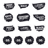 Sale discount icons. Special offer price signs. Ink brush sale stripes and banners. Sale discount icons. Special offer price signs. 10, 20, 25 and 30 percent Stock Photography