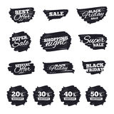 Sale discount icons. Special offer price signs. Ink brush sale stripes and banners. Sale discount icons. Special offer price signs. 20, 30, 40 and 50 percent Royalty Free Illustration