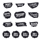 Sale discount icons. Special offer price signs. Ink brush sale stripes and banners. Sale discount icons. Special offer price signs. 10, 20, 25 and 30 percent Royalty Free Stock Image