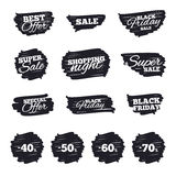Sale discount icons. Special offer price signs. Ink brush sale stripes and banners. Sale discount icons. Special offer price signs. 40, 50, 60 and 70 percent vector illustration