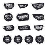 Sale discount icons. Special offer price signs. Ink brush sale stripes and banners. Sale discount icons. Special offer stamp price signs. 40, 50, 60 and 70 royalty free illustration