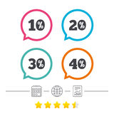 Sale discount icons. Special offer price signs. 10, 20, 30 and 40 percent off reduction symbols. Calendar, internet globe and report linear icons. Star vote Stock Photos